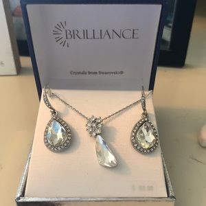 beautiful crystal earrings and necklace